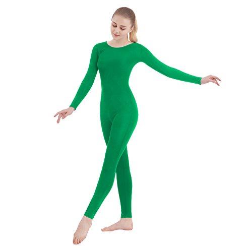 SUPRNOWA Unisex Scoop Neck Footless Lycra Spandex Long Sleeve Unitard (Small, Green) ()