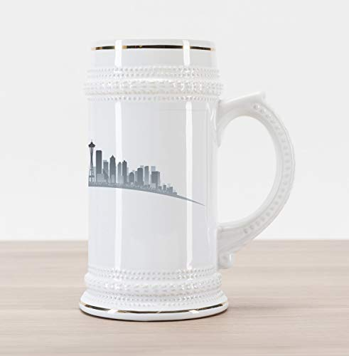 Lunarable Seattle Beer Stein Mug, Silhouette of Washington City Tourist Attraction Space Needle in the Middle, Traditional Style Decorative Printed Ceramic Large Beer Mug Stein, Grey and Pale Grey