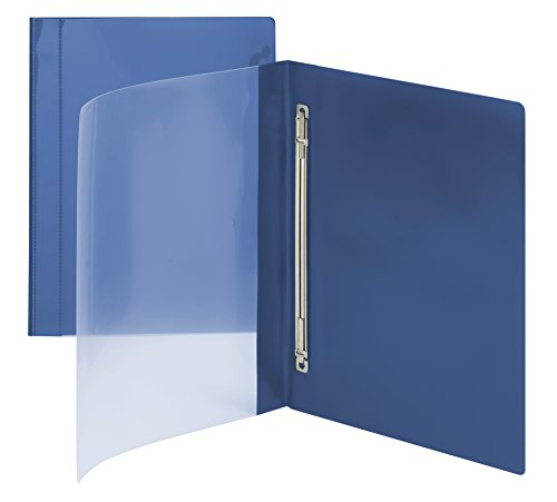Smead Clear Front Poly Report Cover, Metal Fastener with Compressor, Side Fastener, Up to 100 Sheets, Letter Size, Blue, 10 per Pack (87411)