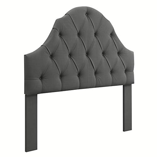 Ravenna Home Wolcott Adjustable Height Arched Tufted Headboard, Full or Queen Size Bed, Slate Grey ()
