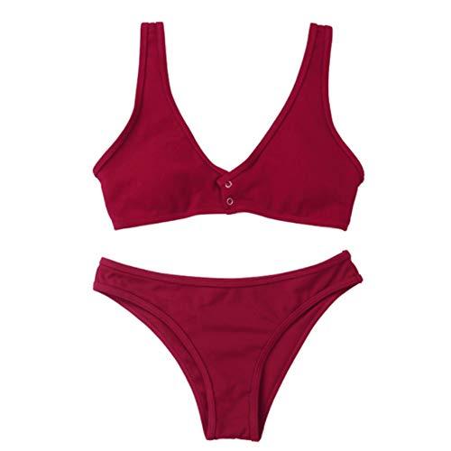 9b8f34bfd956 Women Deep V Bikini, Bandage Sling Three-Point Set Push-Up Brazilian  Swimwear