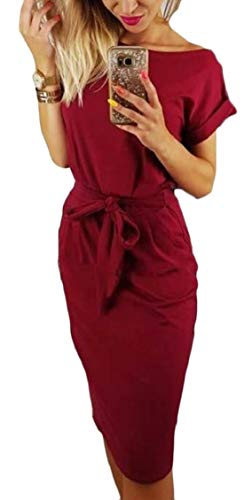 Jaycargogo Longueur Du Genou À Manches Courtes Occasionnels Femmes Robe Ceinturée Vin Rouge