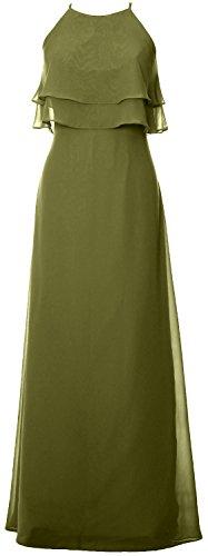 MACloth Elegant Long Bridesmaid Dress Tiered Chiffon Wedding Party Formal Gown Verde Oliva