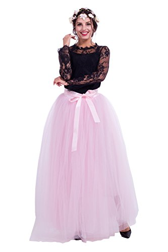 7 Layered Women's Adult Long Pleated Tulle Skirt A Line Floor Length petticoat Prom Party Tutu Skirts