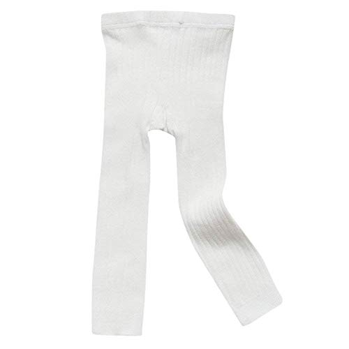 Toddler Baby Basic Ribbed Sweater and Leggings Footless Tights Kids Little Girls Dress Bottom Top Pants (White, 0-1 Years)