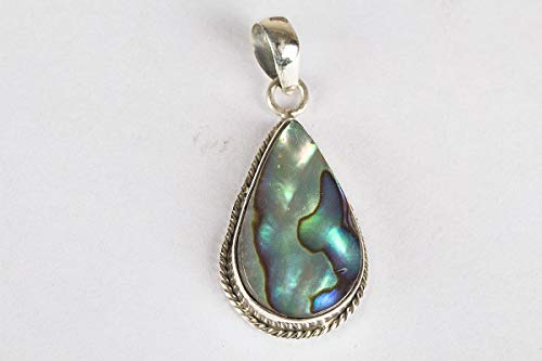 Abalone Shell Pendant 925 Sterling Silver Pear Shape Multi Color Gemstone Pendant Beautiful Unique Style Handmade Jewelry