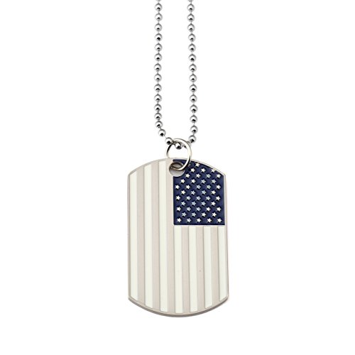 [NYUK Mens Hip Hop Pendant Flag Of The United States Tags Necklace(White)] (Guys Hip Hop Dance Costumes)