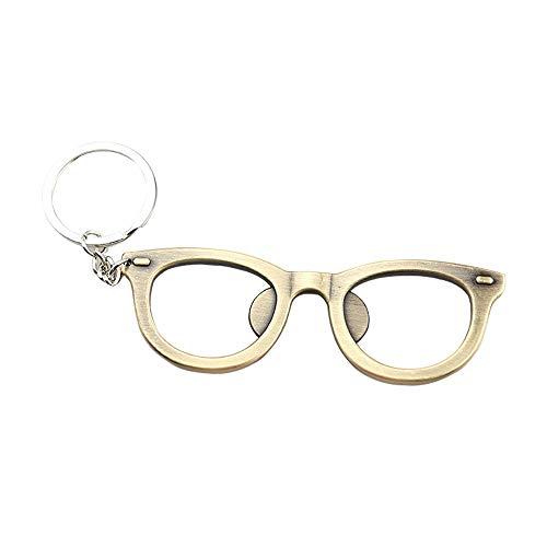 CapsA New Fashion Creative Metal Eyeglass Frame Bottle Opener Metal Multi-functional Key Ring Keychain (gold)