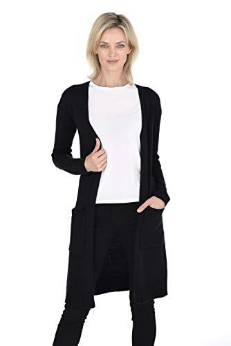 Cashmeren Women's 100% Pure Cashmere Classic Knit Soft Open Front Long Cardigan (Black, - Sweater Boatneck Cotton