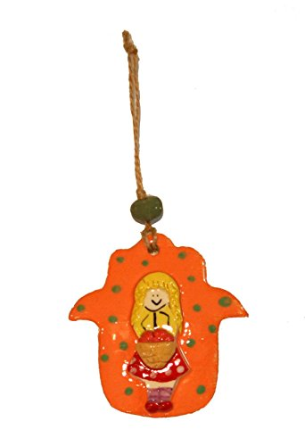 Colorful Ceramic Hamsah for Kid / Child Room Girl Holding Fruit's Basket Design, Israel Hand Made By Racheli Size: 4