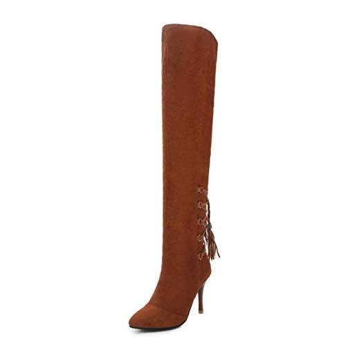 HAOLIEQUAN Office Lady High Heels Stiefel Bowknot Fransen Warme Schuhe Frauen Winter Lace Up Overknee Stiefel Größe 32-43