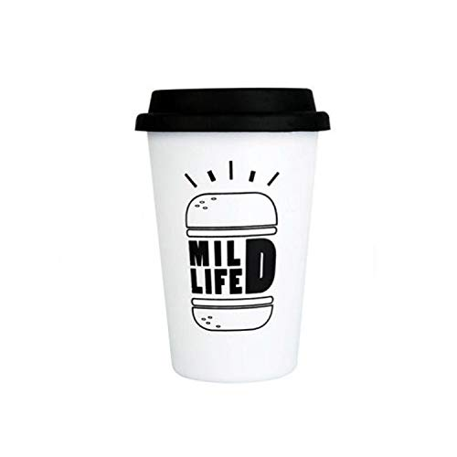 Stainless Steel Coffee Mugs with Lid Letter Creative Cup for Office Home Travel Student Gift,Burger white