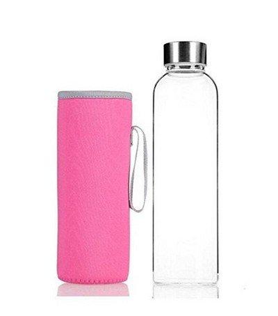 LAAT Botella de vidrio Botella deportiva Botella transparente con bolsa de nylon protectora Botella de agua