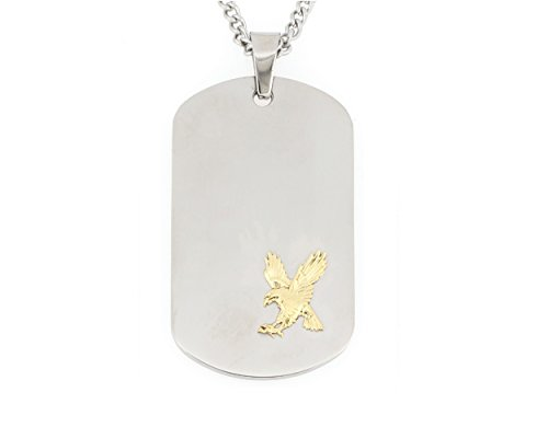 14k Eagle Pendant - Arrow Jewelry Stainless Steel dog tag pendant with solid 14K Flying Eagle Gold