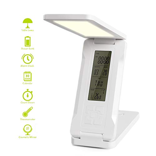 Hour 15000 Lamp Fluorescent Compact (Elzele LED Desk Lamp, Eye-Caring Table Lamps, Dimmable Office Lamp with 15000mAh 5V/2A USB Charging Port Power Bnak, 2 Adjustable Brightness, Touch Control, Perfect for Reading, Studying,Working)