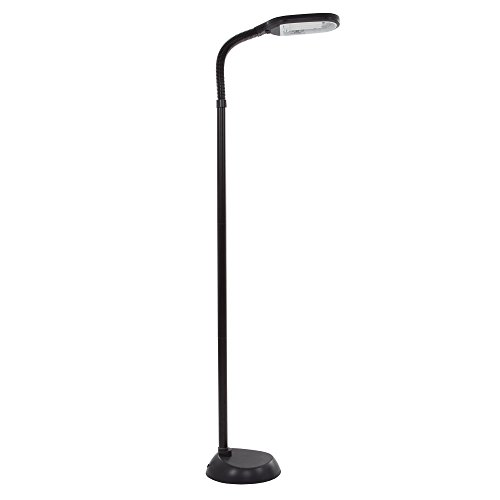 Spectrum Fluorescent Lights - Natural Full Spectrum Sunlight Therapy Reading and Crafting Floor Lamp Lavish Home (Black, 6 Feet) - Adjustable Gooseneck