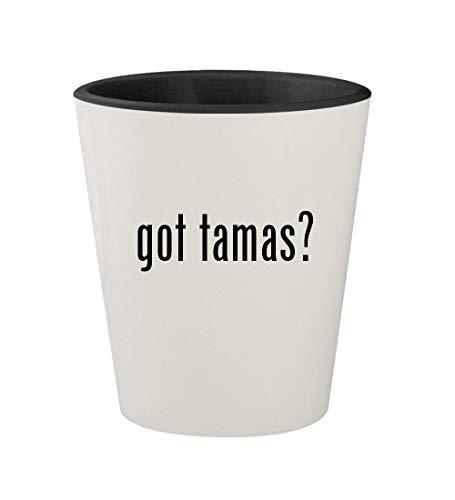 got tamas? - Ceramic White Outer & Black Inner 1.5oz Shot Glass ()