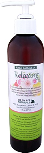 Relaxing Massage Oil 8 Fl. Oz. Contains Pure Essential Oils of Tangerine, Rose, Lavender and Orange. Pump