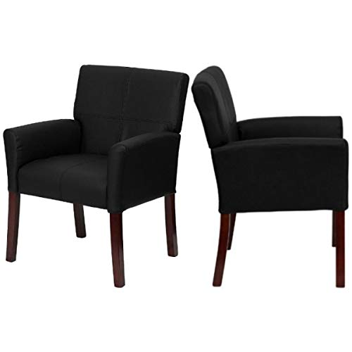 Contemporary Design Executive Reception Accent Chair Durable LeatherSoft Upholstered Seat Solid Mahogany Finished Wood Legs Home Office Dining Room Furniture - Set of 2 Black #2223