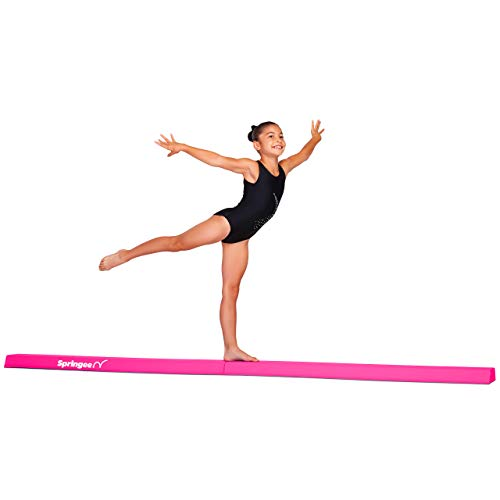 (Springee 9ft Balance Beam - Extra Firm - Vinyl Folding Gymnastics Beam for Home - Pink)