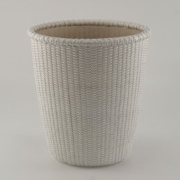 Trash Can Trash Bin Waste Basket For Bathroom Wicker White Oval With  Removable Liner Nantucket Style