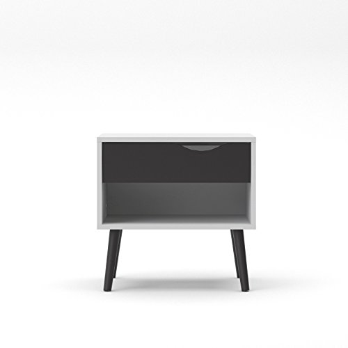 Tvilum 7539449gm Diana 1 Drawer Nightstand White/Black Matte