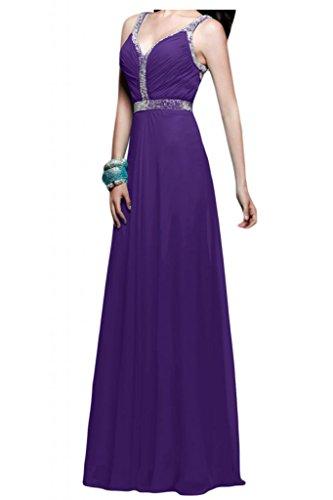 Toscana sposa incantesimo benda Rueckenfrei V-taglio Chiffon sera vestimento un'ampia Party ball extra lungo viola 40