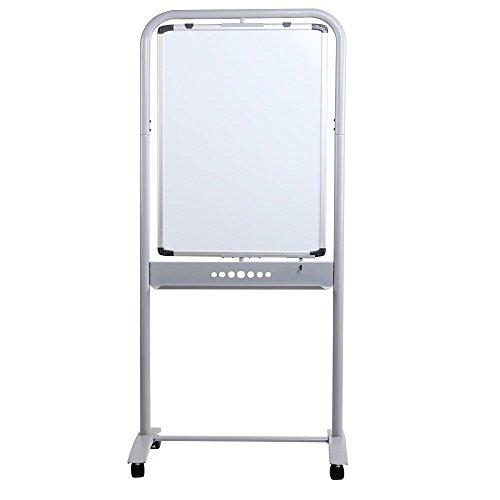 VIZ-PRO Double-Sided Magetic Mobile Whiteboard, Portrait Orientation, Steel Stand