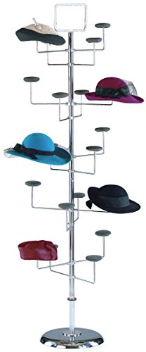 Marvolus 1820 Women's 20-Hat Floor Display Rack In Chrome by Marvolus Manufacturing