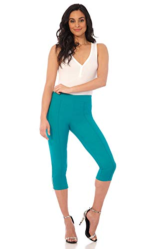 Rekucci Women's Ease in to Comfort Slimming Seamed Capri w/Zipper Detail (8,Jade) - Form Fitted Capris