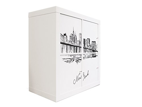 YOURDEA - Möbelsticker für IKEA Expedit / Kallax Möbel Schrank Kommode Regal mit Motiv New York Skizze