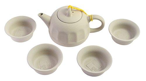 JustNile Oriental Porcelain Tea Pot Set- Grey, A Set of Pot and 4 Tea Cups