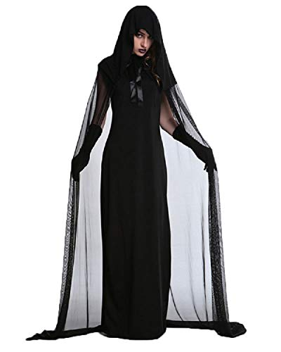 BEEY Halloween Cosplay Costume Witch Vampire Hooded Cloak Cape Outfit Dress (Large, Black)