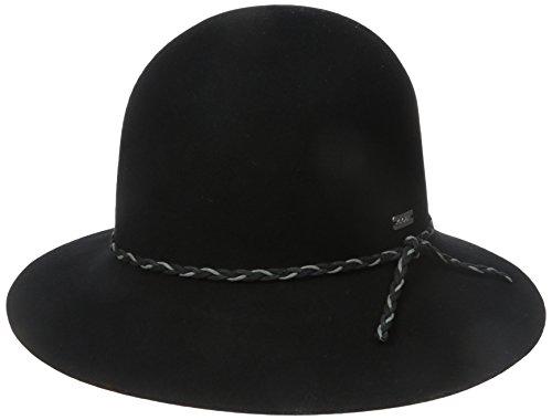 Coal Women's The Simone Crushable Wool Felt Cloche Hat with Asymmetrical Brim, Black, One Size (Felt Sombrero)