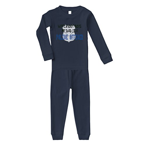 ut Boys My Dad is Police Officer Cotton Long Sleeve Crewneck Unisex Infant Sleepwear Pajama 2 Pcs Set Top and Pant - Navy, 6 Months ()