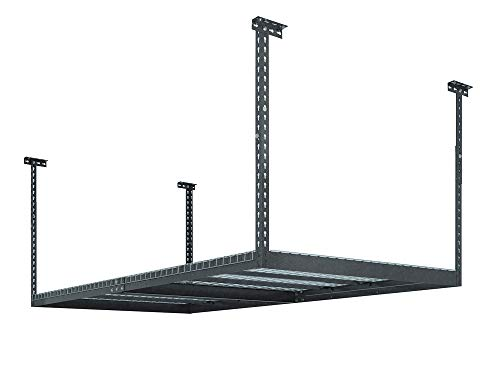 - NewAge Products 40151  4-Feet by 8-Feet Ceiling Mount Garage Storage Rack, Grey