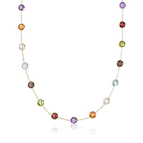Ross-Simons 28.50 ct. t.w. Bezel-Set Multi-Stone Station Necklace in 14kt Yellow Gold