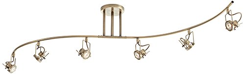 Pro Track European Style Antique Brass 6-Light Wave Bar