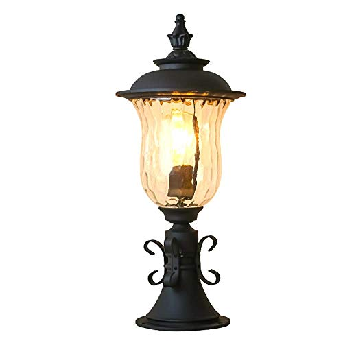 Wsxxn Outdoor Lawn Column Patio Outdoor Column Headlight with Water Pattern Glass Lampshade, E27 Single Head European Retro Pillar Lamp Creative Post ()