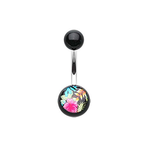 Hawaiian Luau Flower Acrylic Logo Belly Button Ring - 14G (1.6mm) - Sold Individually