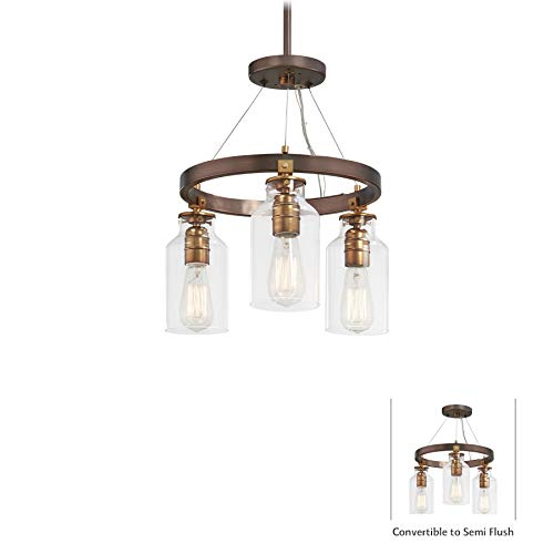 Minka Lavery Semi Flush Mount Ceiling Light 4553-588 Morrow Lighting Fixture, 3-Light, Harvard Court Bronze w/Gold (Gold Highlights 3 Light)