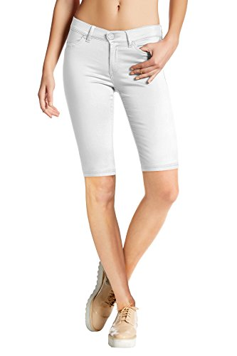 - Womens Perfectly Shaping Hyper Stretch Bermuda Shorts B44876X White 1X