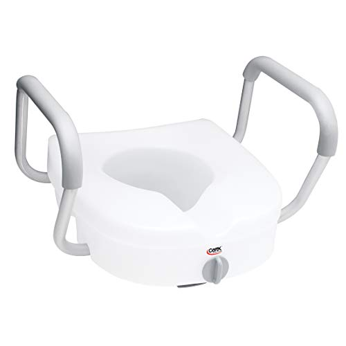 Carex E-Z Lock Raised Toilet Seat with Removable or Adjustable Handles - 5 Inch Toilet Seat Riser with Arms - Fits Most Toilets