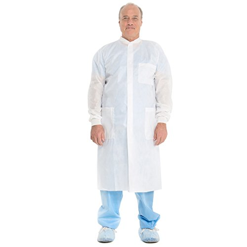 Kimtech A8 Certified Lab Coats with Knit Cuffs and Collar (10024), Protective 3-Layer SMS Fabric, Knit Collar & Cuffs, Unisex, White, 2XL, 25 / Case by Kimberly-Clark (Image #2)