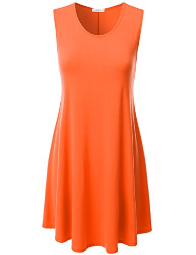 Orange Flapper Dress (NINEXIS Womens Sleeveless Flowy Loose Fit Flare Tank Tunic Dress TANGERINE L)