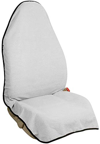Resistant Seat (Leader Accessories Waterproof Car Towel Front Seat Cover White with Anti-Slip Back for Athletes Running Swimming Boxing Workout Machine Washable Outdoor Sports Seat Protector)