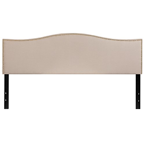 Flash Furniture Lexington Upholstered King Size Headboard with Decorative Nail Trim in Beige ()