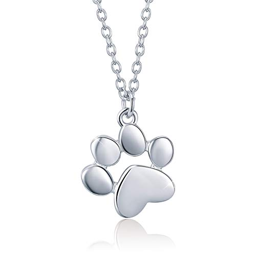 Sterling Silver Dog Pendant - SIMPLOVE Dog Paw Print Pendant Necklace, 925 Sterling Silver Cute Puppy Dog Hollow Heart Footprint Necklace Memorial Jewelry with Box Ladies Girls Gifts on Birthday Mother's Day