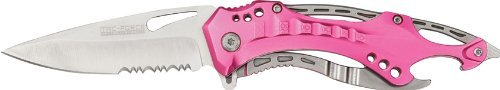 TAC Force TF-705PK Assisted Opening Tactical Folding Knife, Black Half-Serrated Blade, Pink Handle, 4-1/2-Inch Closed