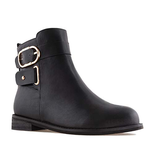 AM4109 Booties Leather Faux Faux Flat in Black Sizes Machado Leather Large Andres Tq54FF